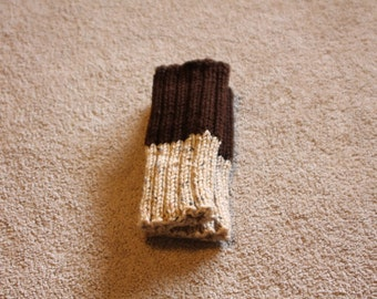 Hand Knit Boot Cuffs, Two in One Boot Cuffs, Boot Toppers. Leg Warmers  Brown-Tan Fleck