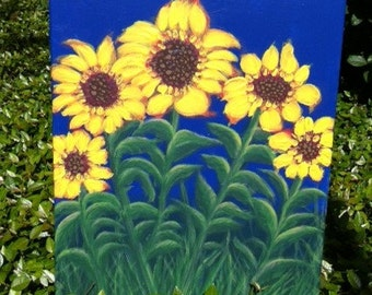 "Sunflowers In The Garden""  Acrylics On Canvas One Of A Kind"
