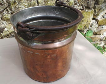 Antique Copper Bucket Cast Iron Handle Copper Seau Sold as Seen Unrestored Unrefurbished Unpolished Quality Unrestored Copper From France