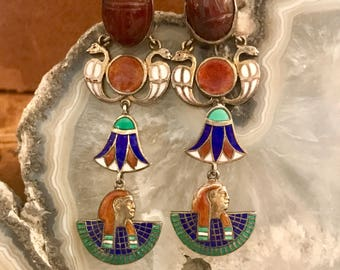 Rare 1920s Art Deco Egyptian Revival Enamel Carnelian Scarab Lotus Flower Pharaoh Serpent Snakes Vintage Sterling Silver Antique Earrings