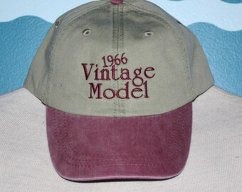 embroidered baseball cap - vintage model ball cap - 1966 birthday hat - custom year baseball cap - birth year vintage baseball cap