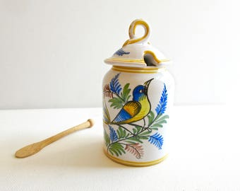 Vintage French Mustard Jar - French Mustard Pot - Vintage Grey Poupon Jar - Grey Poupon - Bird Decor - made in France - Ships from USA