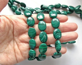 "Faux Emerald Green Malachite actually Banded Agate Smooth Ovals 10x14 mm 16"" strand N1479"