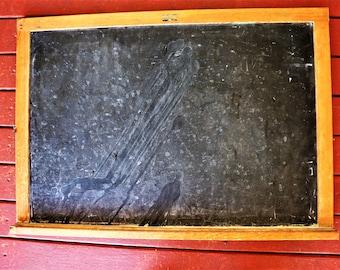 """Vng 50s? 60s? Lrg Primitive Chalkboard 21"""" x 30"""" / Antique Blackboard Chicago IL / Mid Century Large Slate Blackboard / Rustic Chalkboard"""