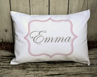 Personalized baby pillow, baby girl gift idea,  Newborn gift, girls pillow,  name pillow,  pink and grey baby gift idea