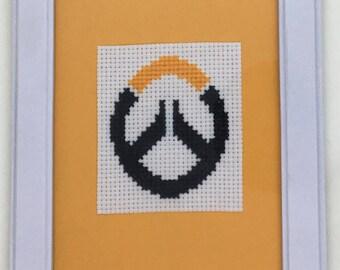 Overwatch Symbol Cross Stitch Framed Art
