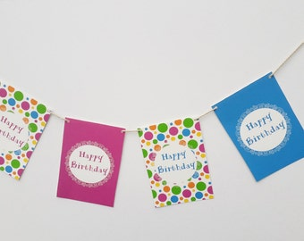 Personalised Polka Dots Happy Birthday Party Garland 60th BIrthday Personalized Kids Party Decorations 60th Birthday Party Favors