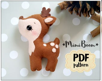Felt deer pattern Felt sewing deer PDF tutorial DIY deer plushies tutorial Deer pdf sewing pattern DIY deer ornaments pattern felt