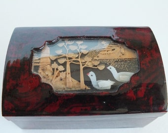 Tiny Keepsake Box with Carved Wooden Tree and Lake Scene in Window