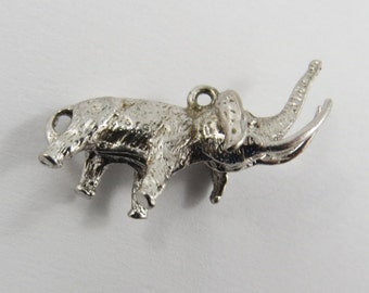 Wooly Mammoth Elephant Sterling Silver Charm or Pendant.