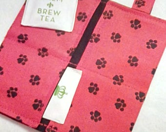 Tea Bag Wallet, PUPPY LOVE, Four Pockets, Handmade, FREE Shipping USa, Holds Tea & Sweetener - Also Travel Jewelry Wallet