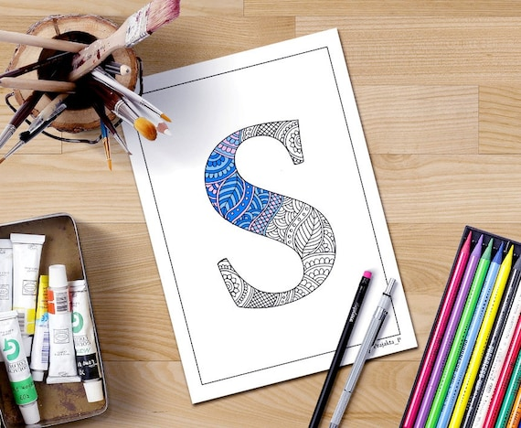 Intricate Alphabet Coloring Pages : Zentangle alphabet coloring pages for adults henna doodle
