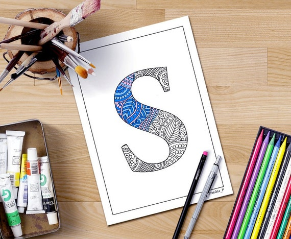 Zentangle Alphabet Coloring Pages For Adults Henna Doodle