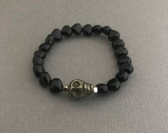 Black Skull Bracelet, Mini Skull Bracelet, Black Heart Bracelet, Heart Jewelry, Black Bracelet, Gemstone Bracelet, Gifts for Her