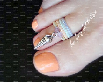 Stacking Toe Ring, Stacking Rings, Ice Cream Cone Charm Ring, Stretch Bead Toe Rings