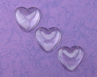 """50 - 1"""" Heart Glass Cabochons - 25mm - Clear Heart Magnifying Dome Cabs - 1 inch"""