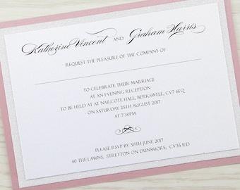 SAMPLE * Sparkle Glitter Evening Wedding Invitation Sparkle Range