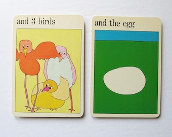 3 birds and the egg - Vintage MOMA Art Cards - Mid Century Prints - Typography Art - Family Room Decor - Museum of Modern Art - Flash Cards