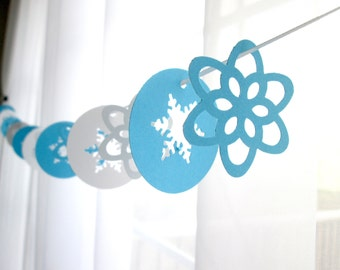 """6 Foot - 2"""" New Frosty Snowflakes and Wildflower Garland"""