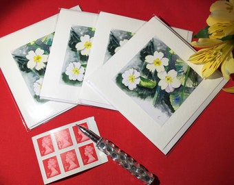 Watercolor Cards Primrose Birthday Cards Gift for Mom, Flower Cards Sympathy Cards Get Well Cards Thank You Note Cards Thinking of You Cards