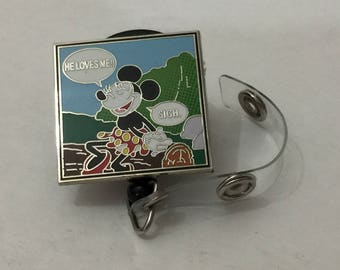 Re-purposed Disney Pin He Loves Me!! Minnie Mouse  w/ Retractable ID Badge Holder New Without Tags