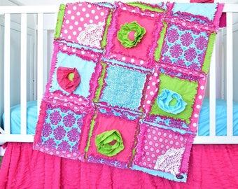 Nursery Bedding Set - Hot Pink / Turquoise/ Green Floral Crib Bedding Set Girls Bedroom- Girl Crib Bedding- Rag Quilt/ Bumpers/ Sheet/ Skirt