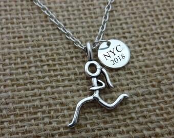 Running Necklace, Marathon Necklace, Personalized Running Marathon Necklace Runner Gift Jewelry, Marathon Gift Jewelry