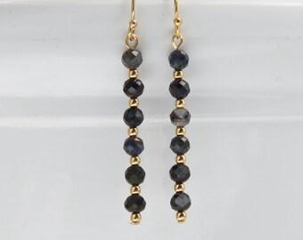 Gemstone Bar Earring- Sapphire Bead Earring- Blue Bar Earring- Southwest Earring Blue- Mnimalist Bead Dangle Earring- Sapphire Jewelry