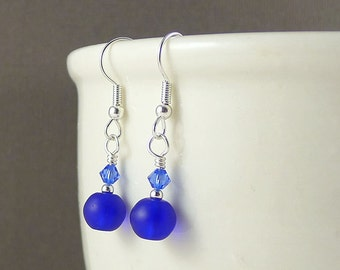 Small sea glass earrings seaglass earrings dangle earrings cobalt blue sea glass jewelry seaglass jewelry bridesmaid earrings wedding gift