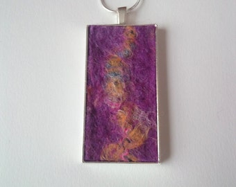 Handmade Felt Pendant in Purple and Orange