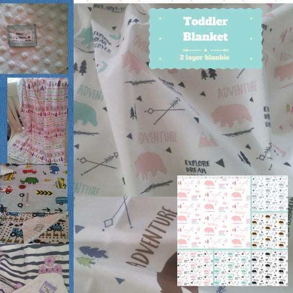 Toddler / Baby Blanket - Bear Meadow Adventures- organic cotton,minky blanket, 24x32 Newborn, 32x50 Toddler Kids Blanket
