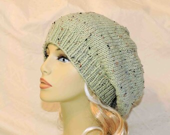 Hand Knit Slouchy Beanie Sage Green With Speckles