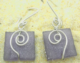 Purple seaglass-like square earrings with silver spirals