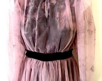 Zombie Apocalypse Princess Gown ~ Pink & Black Velvet Crush Dyed Dress ~ Size AU 6 - 8 US 4 - 6 ~ Gothic Wedding
