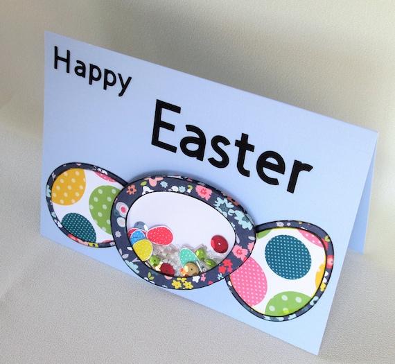 Easter egg shaker card happy spring 3 polka dot floral eggs easter egg shaker card happy spring 3 polka dot floral eggs fun shaker gift card for children grandchildren nieces nephews any child negle Gallery