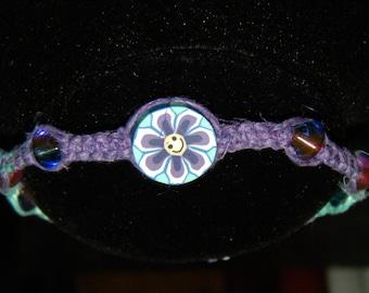 Beaded Bracelet, Purple and Blue, Hemp, Macrame, Boho, Hippie, Fimo Bead, Glass Beads