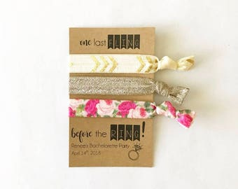 One Last Fling Before The Ring Hair Ties, Bachelorette Party Ponytails, Bridal Party Elastics