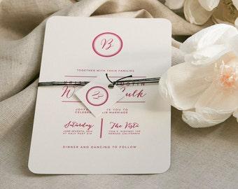 Modern Wedding Invitation,Modern Monogram Wedding Invitations,Mod Monogram Wedding Invite,Minimalist Wedding Invitation, Mid-Century Modern