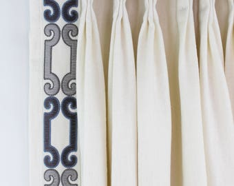 Trend 01838 Glacier Drapes with Zimmer Rohde Velvet Scroll Trim in Navy Gray