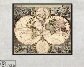 HUGE Old World Map print - archival quality fine art print - LARGE wall map - Old map of the world - Antique World Map, 015