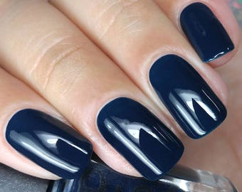 Dark Navy Blue Indie Nail Polish Shadowplay Bath And Beauty Gift Under 10 Gift For Her Pepper Pot Polish