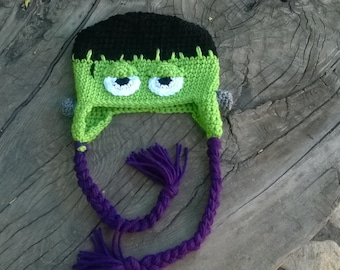 Frankenstein crochet character beanie toddler size 1-3 years. Machine wash cold water. Dry flat or low air only setting .
