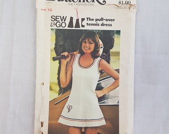 """Butterick 3709// Vintage 1970s Tennis Dress //Retro Sewing Pattern // Size 16 Bust 38"""""""