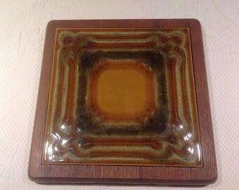 Luthje teak - trivet mid century teak with ceramic tile / / made in the Denmark