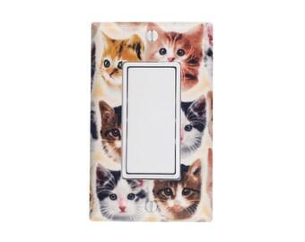 Kitten Face Light Switch Plate / Rocker Decora Paddle GFCI Outlet / Cat Lover Gift / Girls Room By Slightly Smitten Kitten