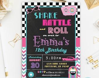 50's  Invitation Printable, Fifties Birthday Invitation Printable, Rock and Roll invitation, Chalkboard Invitation, 50's theme Party