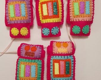 Robot Pink Glitter Rainbow Handmade Felt Garland