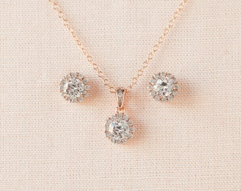 Rose Gold Bridal Jewelry,  Delicate Crystal Stud Earrings, Pendant necklace, Bridesmaids Jewelry, Bridal Jewelry SET, Crystal SET
