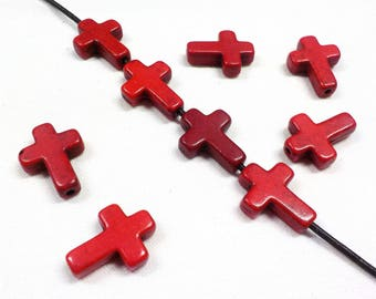 Red Cross Beads, Howlite Red Cross Beads, Magnesite Beads 12x16mm - 10 pieces