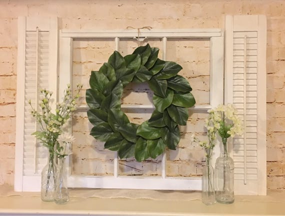 Farmhouse decor shutter wall decor window frame magnolia teraionfo